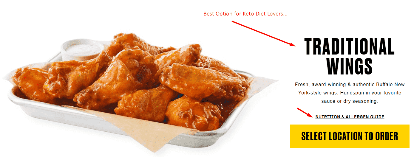Buffalo Wild Wings Keto best option traditional wings